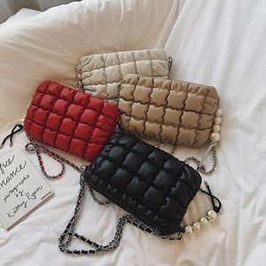 Fashion Leather Messenger Bags Women Pure Lightweight Fashion High quality Pearl Soft Surface Pendant Shoulder Handbag