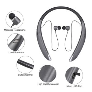 V8 Kulaklık Boyun Stil Kulaklık Kablosuz Stereo Müzik Kulaklık Loud Hoparlör Bluetooth 4.1