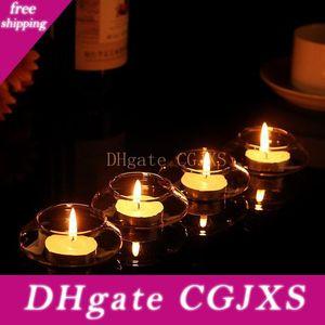 5 X flotante transparente de cristal del sostenedor de vela de la boda de Casa de los decorativo con una vela Cena romántica
