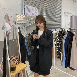 72eW3 2020 calças até os tornozelos coat início do Outono ins soltas casuais casaco oversize terno + calças cortadas coreano fato de duas peças