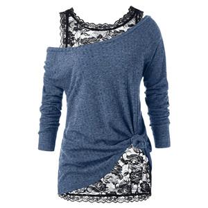 das mulheres Plus Size Sweater Casual Two Pieces Define mulheres Regatas + Sweater Moda Lace Estilo mulheres Oversize Camisolas Outono Primavera Tamanho XL-5XL