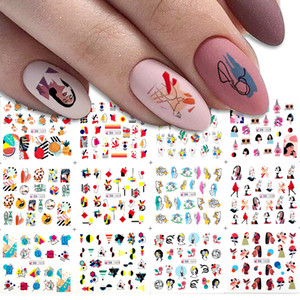 24 style Color block Pattern Water Nail Transfer Stickers Women Face Sketch Abstract Image Nail Slider Decals Decoration