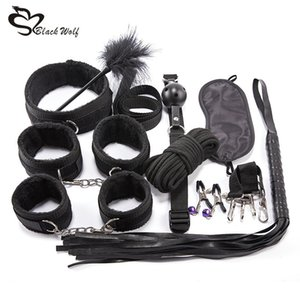 10Pcs Sex Products Erotic Toys for Adults BDSM Sex Kits Bondage Set Handcuffs Nipple Clamps Gag Whip Rope Sex Toys For Couples Y200616