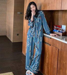 Nuova estate manica corta da donna Pigiama Ragazze Amp; Donne Fiore stampato seta da notte Lettera per il tempo libero a casa abiti Wear Coppia allentato pigiama # 844