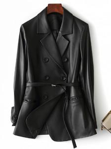 인테르 블랙 가짜 가죽 재킷 여성 긴 소매 벨트 플러스 사이즈 가죽 자켓 여성의 새로운 도착 2020 여자 의류 CX200812을 5XL