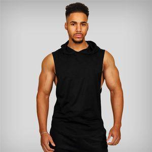 Neue Männer Bodybuilding Tanktops Fitnessstudios Fitness Workout Ärmel Hoodies Mann beiläufiger fester Kapuze Weste Männlicher Muskel Jungs Kleidung