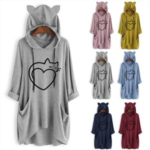 Women oversized hoodie blanket Casual Print Cat Ear Hooded Long Sleeves Pocket Irregular Top Blouse Shirt sweat a capuche y2