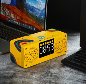 A10 coloridas de madeira portátil Bluetooth 5.0 Speaker Alarm Clock LED Speakers visor do rádio Stereo desktop Subwoofer Apoio TF AUX USB FM