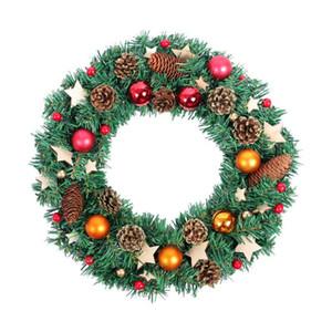 Artificielle Couronne de Noël Couronne de Noël Hanging porte avant Noël Garland Ornements fenêtre Maison mur Cadeaux Décor