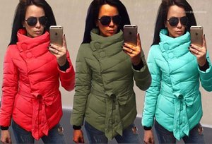 Apparel Womens Winter Desinger Parkas Solid Color Belt Irregular Style Female Clothing Stand Collar Winter Casual
