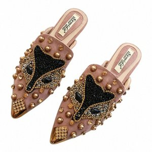 Cover Toe Flat With Shoes Women Rivet Decoration Summer Ladies Slippers Flock Low Fashion Outside Women Slides 24dg#
