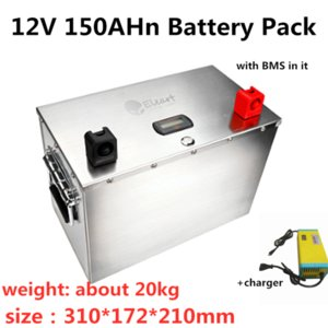 GTK 12V 150Ah Lifepo4 batteria LCD dispaly con forti BMS per Solar PV Panel System Storage + 14.6V 10A Caricabatterie