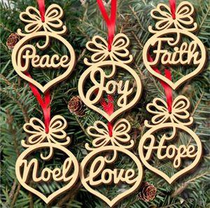 Natale in legno Lampadina a sospensione decorazioni Hollow fiocco di neve cavallo a dondolo stella Angel Love albero di Natale 6pcs D83105 /