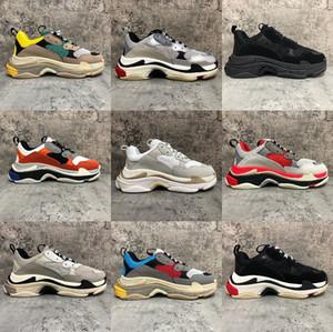 New Paris Triple-S Blanco Negro hombres zapatos para hombre Negro crema de color rosa amarilla barato rojo para mujer de los calzados informales de la moda zapatillas de deporte