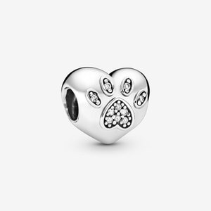 New Arrival 100% 925 Sterling Silver I Love My Pet Paw Print Heart Charm Fit Original European Charm Bracelet Fashion Jewelry Accessories