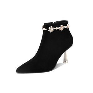 Suede Leather Bowties Ankle Boots Sexy Pointed Toe Thin High Heels Night Club Dress Shoes Black Woman Ankle Boots