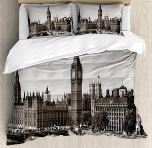 London Duvet Cover Set Westminster with Big Ben and Bridge Nostalgic Image British Antique Architecture Bedding Set Sepia White