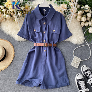 Summer Women Rompers Short Sleeve Playsuits Fashion Single Breasted Overalls Lady Loose Wide leg Short Pants Jumpsuit With Belt