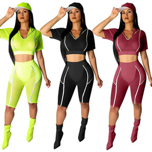 Women 2 piece set Reflective article fitness sportswear t-shirt shorts sweatsuit pullover leggings outfits hooded crop top tracksuits 0122
