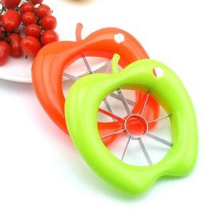 Apple Shaped Plastic Fruit Splitter Wholesale Creative Home Kitchen Stainless Steel Apple Corer Slicer Kitchen Vegetable Tools TQQ BH0406