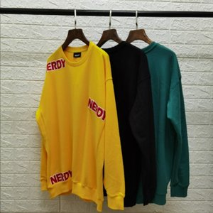 2020 New logo embroidery contrast stitching sweater cotton terry fashion casual style yellow black green