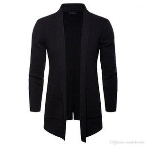 Stehkragen Langarm Oberbekleidung Freizeitmäntel Mode Strick mit Taschenmänner Jacken Frühling Herbst Herren Open Stitch Solid