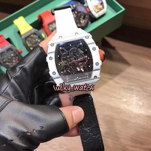 Top Version RM35-01 RAFA Skeleton Dial NTPT White Carbon Fiber White Case Japan NH Automatic 35-01 Mens Watch White Nylon Strap Sport Watche