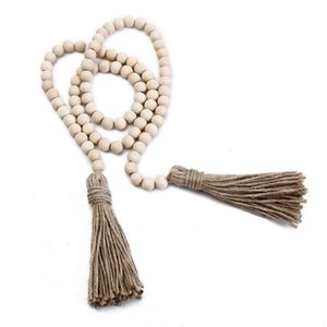 Perle registro Perline di legno ornamenti d'attaccatura della nappa di preghiera perline Wall Hanging decorazioni Ghirlanda Rustico Beads Home Decor OWD939
