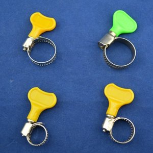 201 Stainless Steel Hose Clamps Yellow Green Plastic Handles Pipe Clamps Surface Polishing 6-12mm 9-16mm 13-19mm 16-25mm 18-29mm Optional