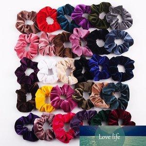 Toptan 50pcs Kadınlar Kadife Saç Scrunchies Tie Aksesuarları at kuyruğu Tutucu toka Elastik Saç Bantları Kadife Saç Döngü Pleuche Şapkalar