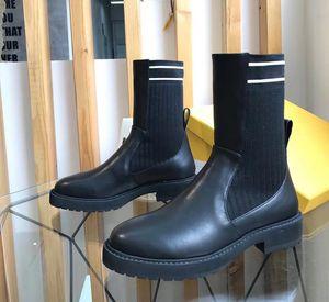 Stretch трикотажного коротких сапоги WOMENS зима 2020 кожи зашнуровать ботинки Мартина разносторонниха низкого каблука плоскодонного носок обуви с коробкой и мешком для сбора пыли
