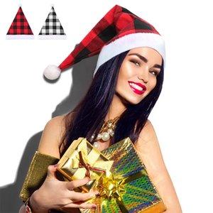Ekose Noel Şapka 30 * 41cm Merry Christmas Bufflao Ekose Yetişkin Noel Şapka Ev Dekorasyon Noel Parti Şapkası CCA12492 60pcs Caps