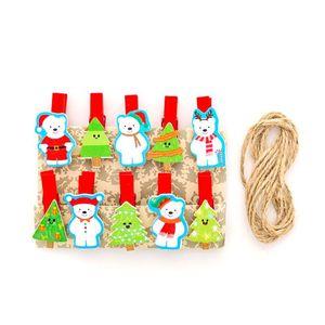 10 Ad Noel Karikatür Tasarım Mini Yay Ahşap Klipler Giyim Fotoğraf Kağıdı Peg Pim mandal Craft Parti Ev Dekorasyon Klip