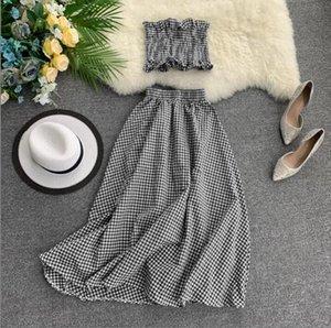 2020 새로운 패션 여성의 두 조각이 짧은 배꼽 스트레치 튜브 탑 + 높은 허리 투피스 정장 치마 귀가 설정