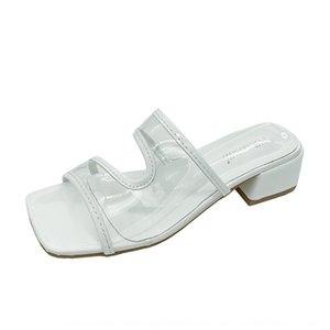 mi-femmes talon New été 2020 style étranger sandales transparentes avec des sandales et des pantoufles pantoufles sexy talon épais