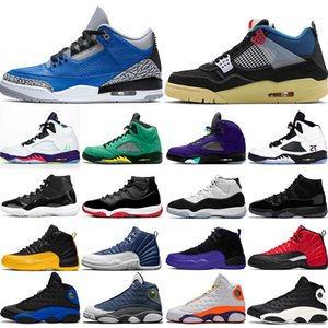 air jordan retro basketball shoes Herren Basketballschuhe Jumpman Damen Turnschuhe Schwarzer Zement UNC 4s Neon Weißer Zement 5s Traube 11s Gezüchtet
