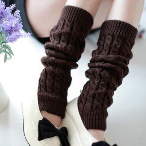 Сплошной цвет кос вязать гетры Elastic крючком гольфы tockings поножи носки женщин мода осень зима носки чулочно-носочные изделия