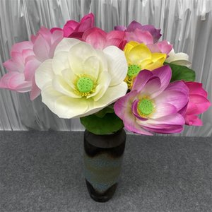 """Fake Single Stem Latex Lotus 32.68"""" Length Simulation Real Touch Nelumbo SP for Wedding Home Showcase Decorative Artificial Flowers"""