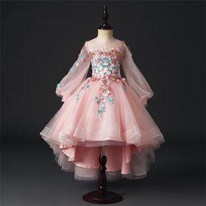 Flower Girls Trailing Dress Kids Ball Gown Floral Embroidery Wedding Dresses Princess Birthday Dress 2019 Children Runway Dress 0924