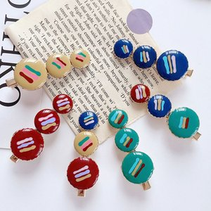 Korean Women Resin Side Bangs Hair Clip Retro Contrast Color Round Button Duckbill Hairgrip Dripping Glaze Enamel Barrettes