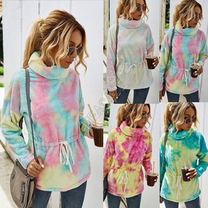 Women Sherpa Fleece Hoodies Tunic Sweatershirt Color Tie-dye Plush Thicken Warm Pullovers Outerwear Turtleneck Sweater Gradient Tops D82609