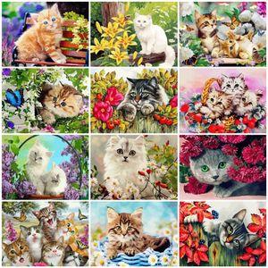 AZQSD bricolaje pintura por números en kits de la lona del gato unFrame decoración para el hogar Colorear Por Números pintado a mano Animal Gift