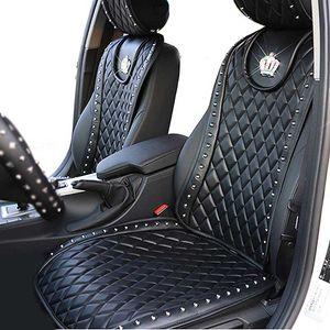 Copertura del seggiolino auto in pelle Diamond Crown Rivetti Auto Seat Cushion Accessori interni Dimensioni universali Sedili anteriori Copre Auto Styling