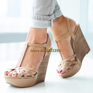 Khaki T Strap Sling Plattform-Keil-Sandalen Frauen aus Holz Holzmaserung Peep Toe Cut Out-Sommer-Damen Sandalen