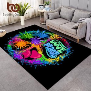 BeddingOutlet Hippie Large Carpets for Bedroom Peace and Love Floor Mat Retro Area Rug Leaf Living Room Tapete 122x183