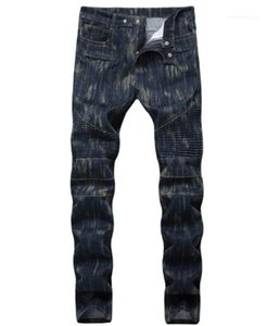 Джинсы мужские середины талии Мода двигателя Брюки Мужской Одежда Straight Fold Тощий Mens Long