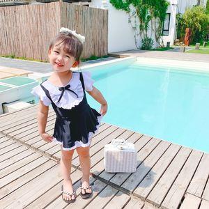 7LqZb 20 новых девочек Цельный черный и белый контраст breifs юбка принцессы милый горячий Swimsuit весной детский купальник