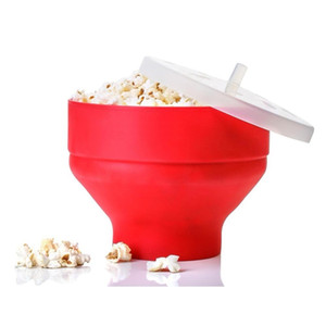 2020 New Popcorn Microwave Silicone Foldable Red High Quality Kitchen Easy Tools DIY Popcorn Bucket Bowl Maker With Lid Cl200920