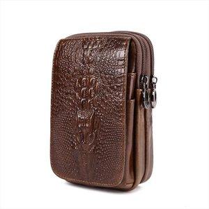High Quality Men Genuine Leather Cell Mobile Phone Case Fanny Bag Vintage Crocodile Grain Wallet Purse Bum Hip Belt Waist Pack