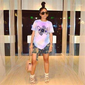 Estilo Moda manga Vestuário Feminino Casual Vestuário Desinger Womens verão camisetas Floral printe Crew Neck curto